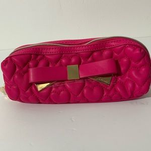 Betsey Johnson Pink heart quilted pencil case bag